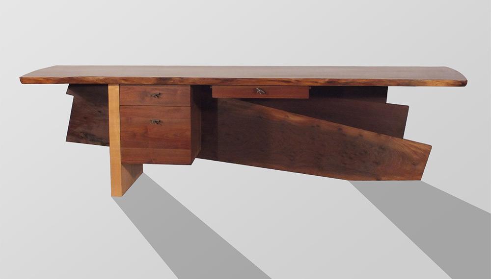 Large Walnut Desk   Front. Big Wood   Handcrafted Wood Furniture   Custom Designer   Craftsman
